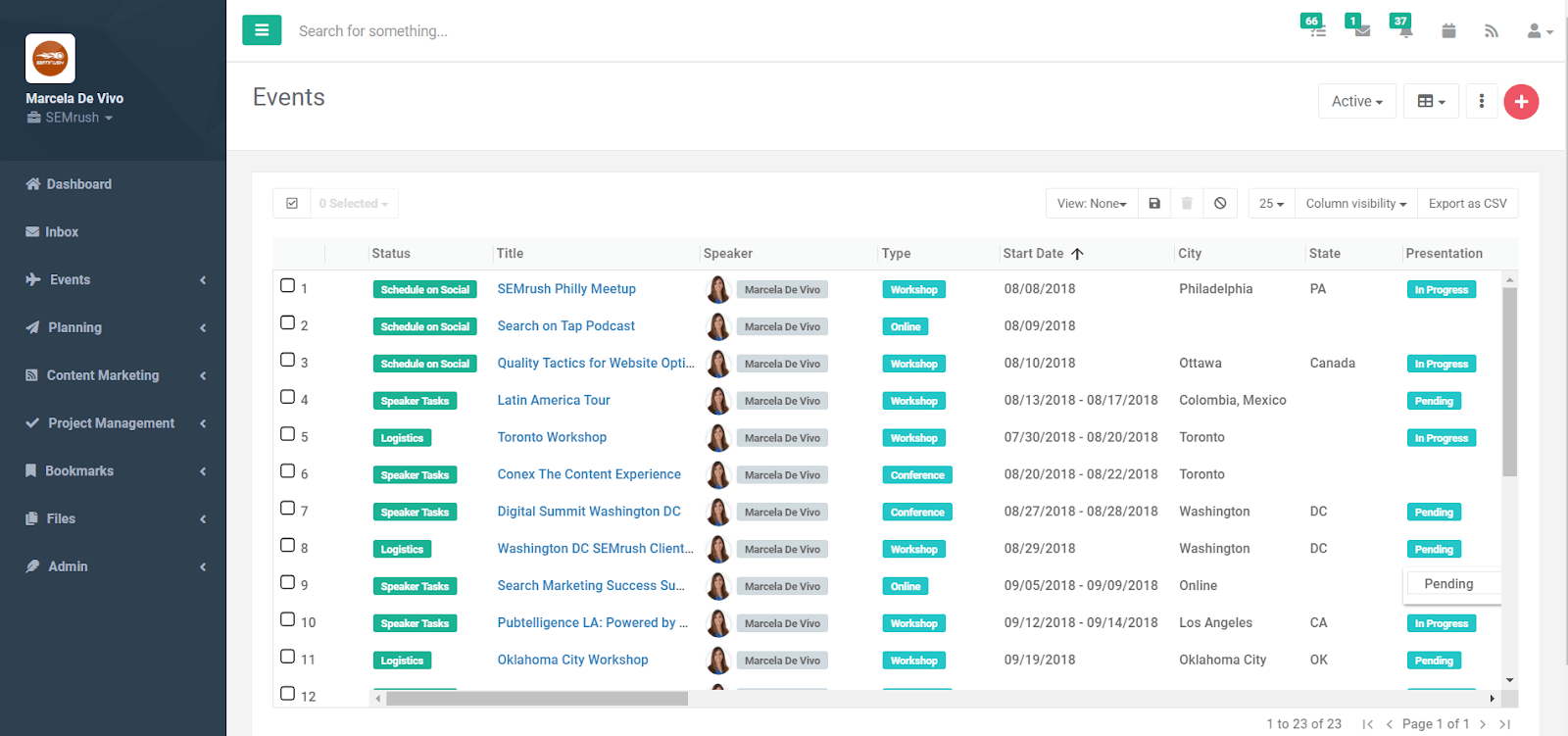 event management project tracker tool